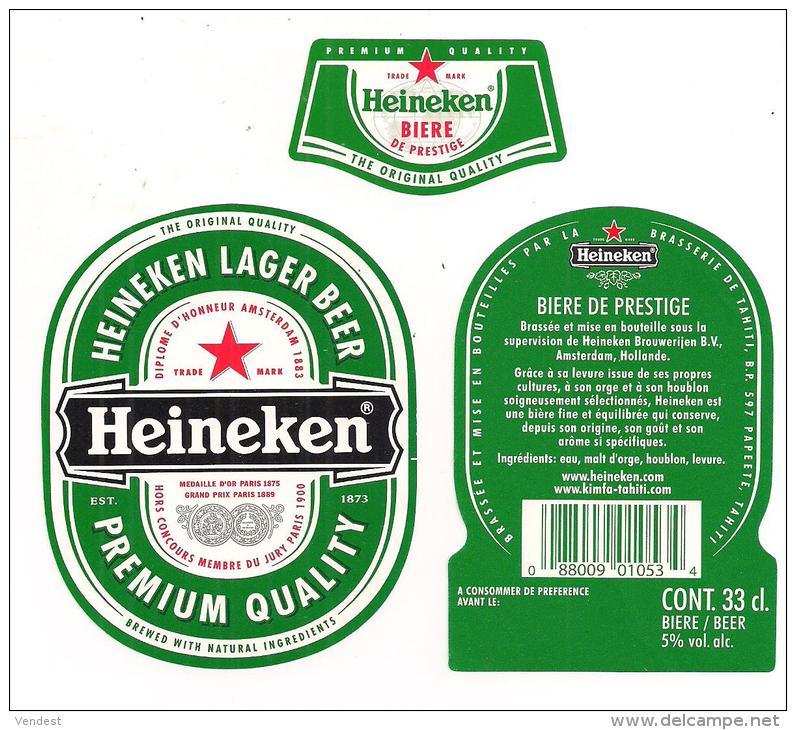 Etiquette Bière HEINEKEN, Brasserie De TAHITI - Papeete - étiquette, Contre-étiquette Et Collerette - - Birra