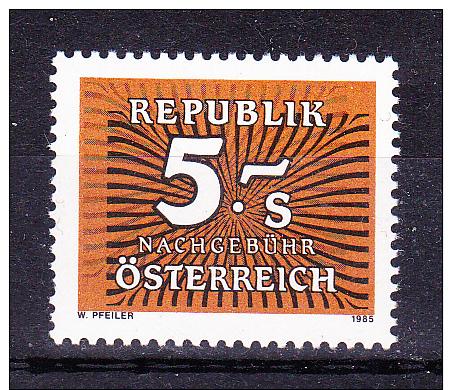 AUSTRIA   1985 ,  5 Sh  Perf 14    , Y&T  Taxe  #  254 Cv  1.10 E , **  M N H , V V F - Segnatasse