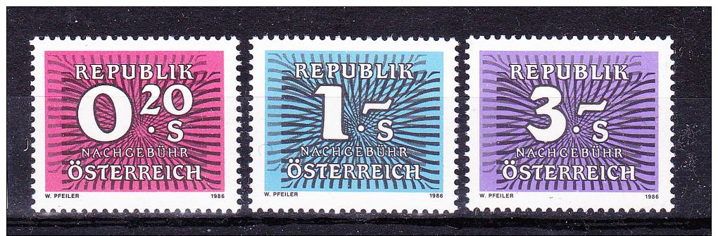 AUSTRIA   1986 ,    Y&T  Taxe  #  255/7  Cv  1.00 E , **  M N H , V V F - Segnatasse