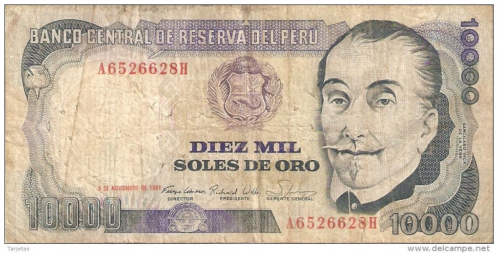 BILLETE DE PERU DE 10000 SOLES DE ORO DEL AÑO 1981  (BANK NOTE) - Perú