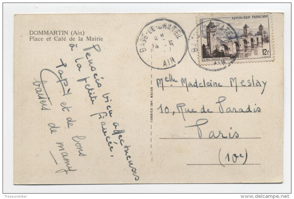 FRANCE ~ Place Et Cafe De La Mairie DOMMARTIN (AIN) Coffee House 1946 To Paris - Other Municipalities