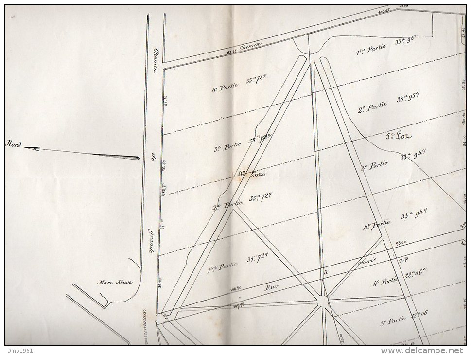 VP929 - VILLEVAUDE  - Plan(64 X 50 ) De Division Du Parc De  MONTJAY / LA / TOUR  Succession Mme SORANO - Other Plans