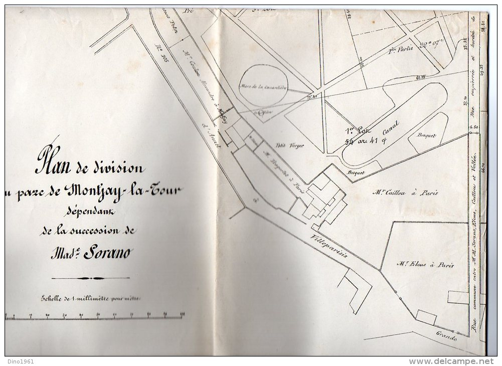 VP929 - VILLEVAUDE  - Plan(64 X 50 ) De Division Du Parc De  MONTJAY / LA / TOUR  Succession Mme SORANO - Technical Plans