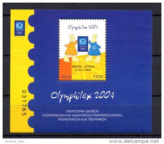 Greece 2004 > Mi BL 37 ( 2239 ) > Athens Olympics 2004 , Olymphilex 2004 > New MNH ** - Nuovi
