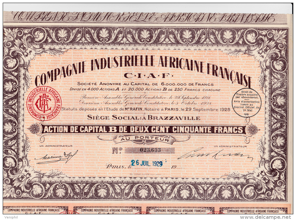 ACTION DE 250 FRS COMPAGNIE INDUSTRIELLE AFRICAINE FRANCAISE -BRAZAVILLE - 1929 - Afrique