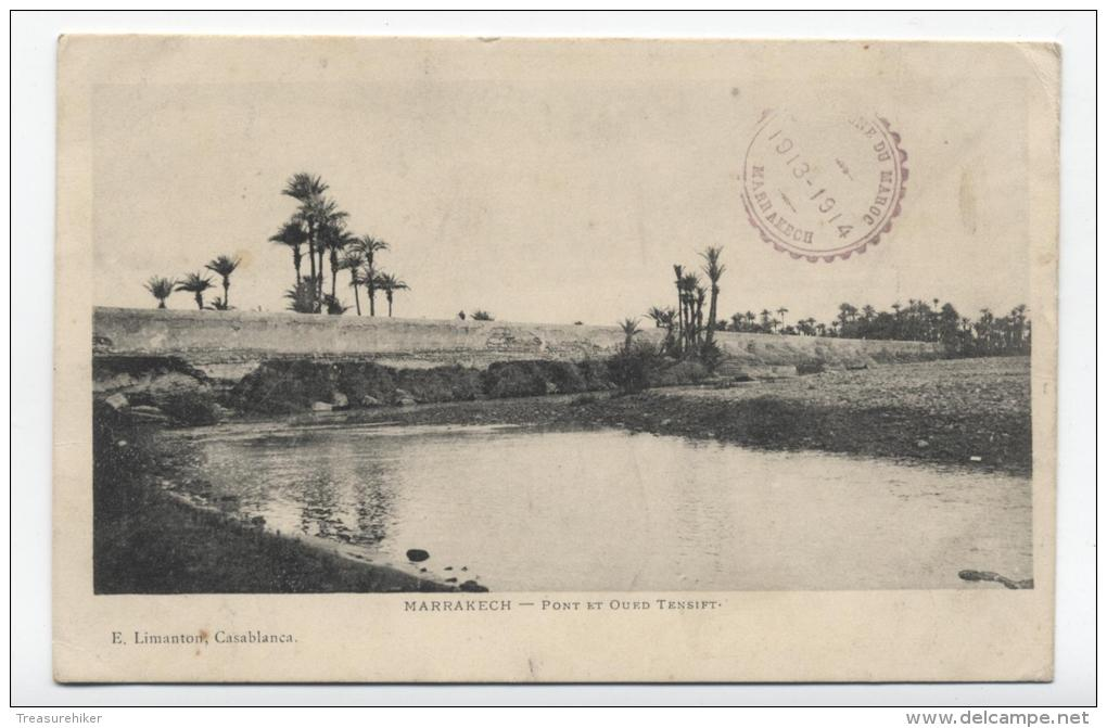 MORROCO ~ Port & River Tensift MARRAKECH Posted 1914 To Dommartin, France - Marrakesh