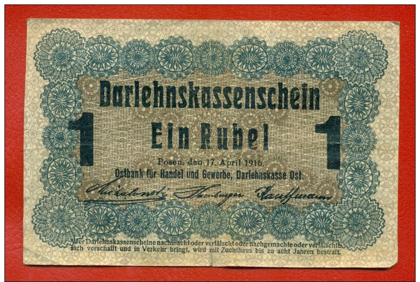 GERMANY OCCUPATION OF LITHUANIA WWl POSEN 1 RUBEL 1916 P R122 W726 - Primera Guerra Mundial
