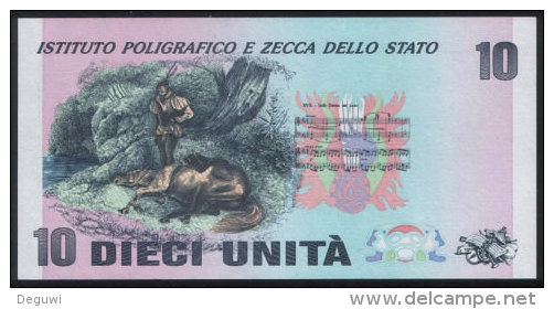 "Test Note  ""IPZS 10"", Error-TYPE Promotional, Testnote, Beids. Druck, RRRR, UNC, Werbenote, Italy - Italien"