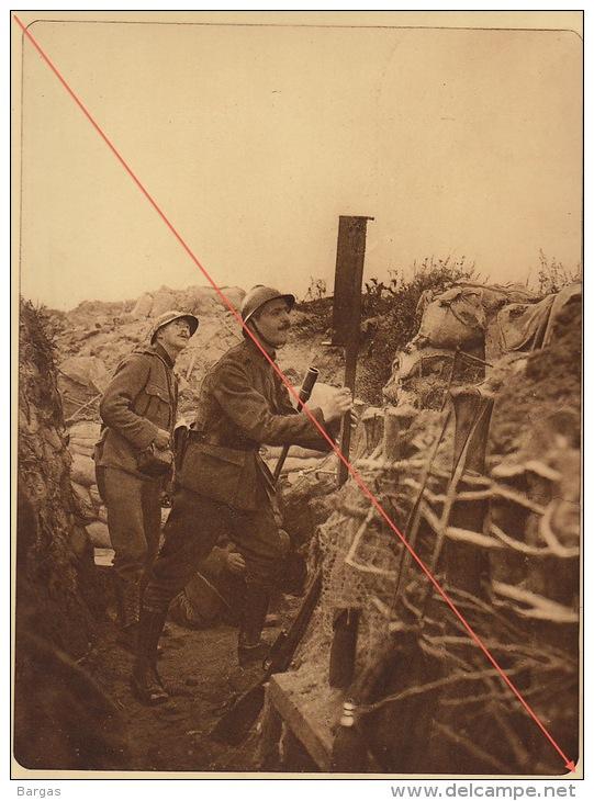 Planche Du Service Photographique De L´armée Belge WW1 Guerre Tir De Grenade Devant Dixmude Periscope - 1914-18