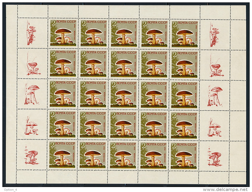 Russia USSR Russland 1964 5x M/S Mushrooms With All Coupons Fine Condition Rare Pilze 5x Kleinbogen °BX0026 MNH - Ungebraucht