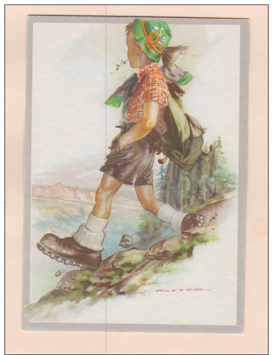 D53938 Postcard 4x6 Vintage Set Of Four Swiss Boy Mountaineer, Signed Holzer (?),  Unused - Autres Illustrateurs