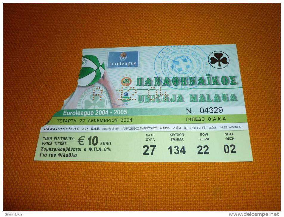 Panathinaikos-Unicaja Malaga Spain Euroleague Basketball Ticket 22/12/2004 - Tickets D'entrée