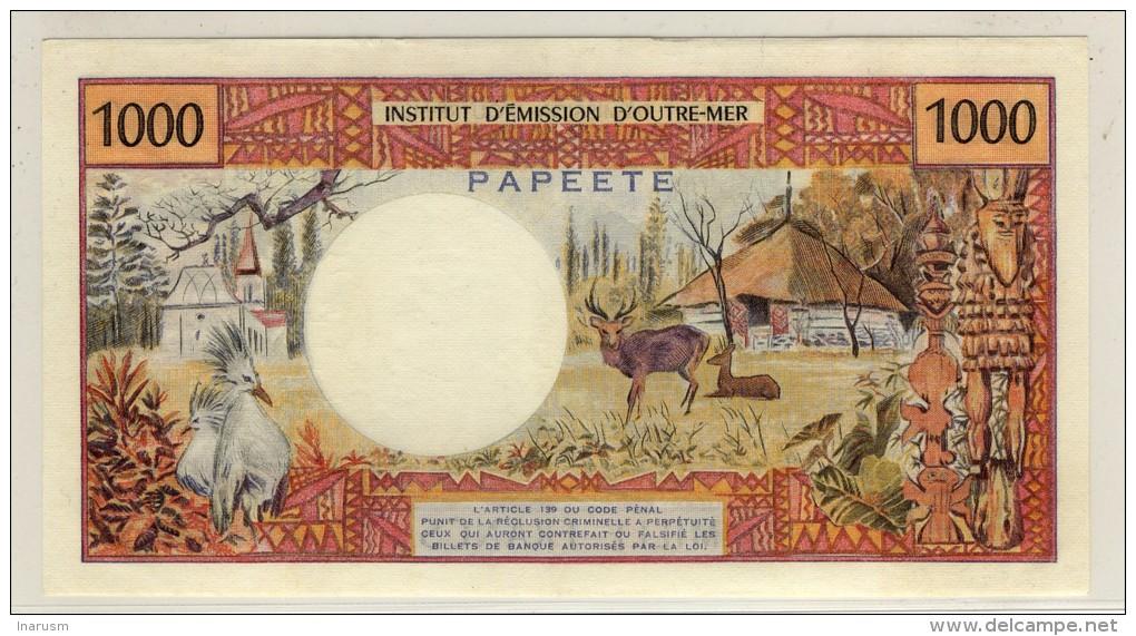 Polynésie Française - French Polynesia - PAPEETE  -  1000  Francs  No Date  -  P.27d  -  3 Plis Verticaux Arrondis - Papeete (Polynésie Française 1914-1985)