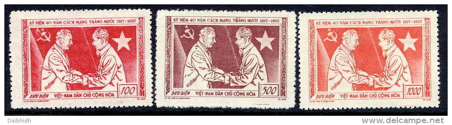 NORTH VIETNAM 1957 40th Anniversary Of October Revolution Set Of 3 VLHM / (*).  Sc. 61-63 - Vietnam