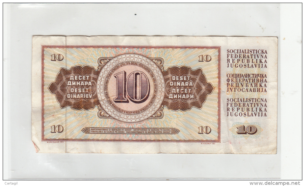 Billets - B1034 - Yougoslavie   - Billet 10 Dinara 1968 ( Type, Nature, Valeur, état... Voir 2scans) - Yugoslavia