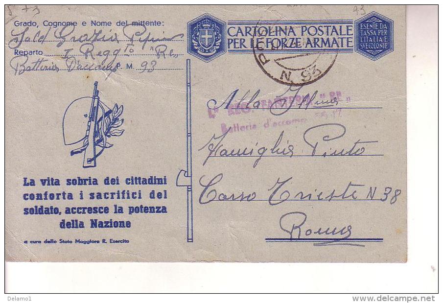 "Franchigia Militare -- Posta Militare 93--I Regg. """"RE """" - 1900-44 Vittorio Emanuele III"