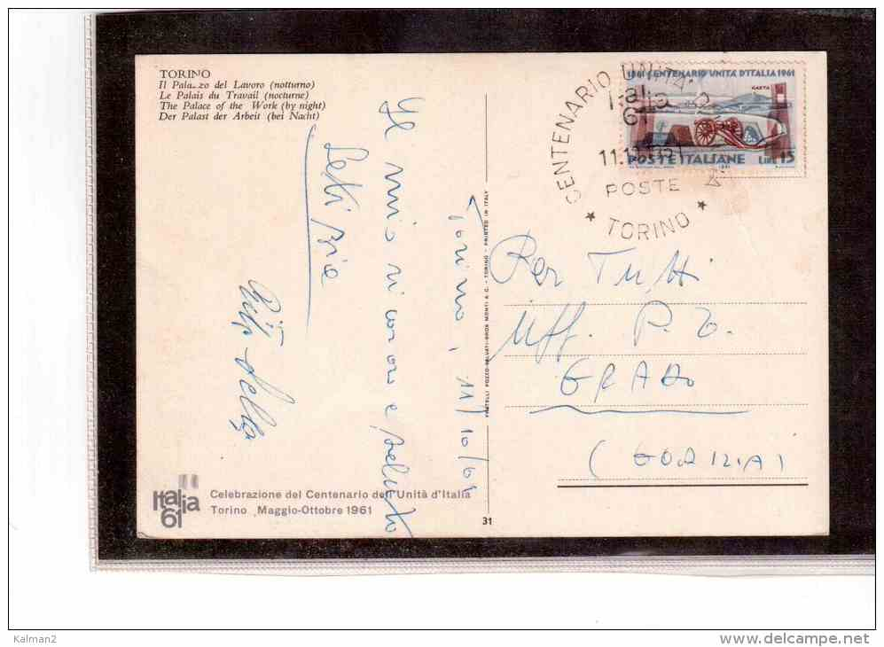 TEM2738     -   TORINO  11.10.1961   /     CENTENARIO POSTE ITALIANE - Post
