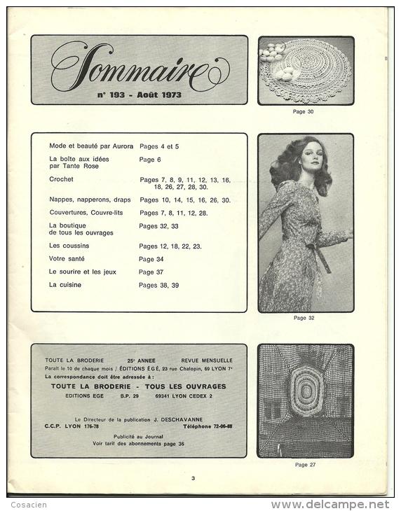 Toute La Broderie, Tous Les Ouvrages 193, Crochet, Rideau, Nappe, Couvre Lits, Set De Table - Knutselen / Techniek