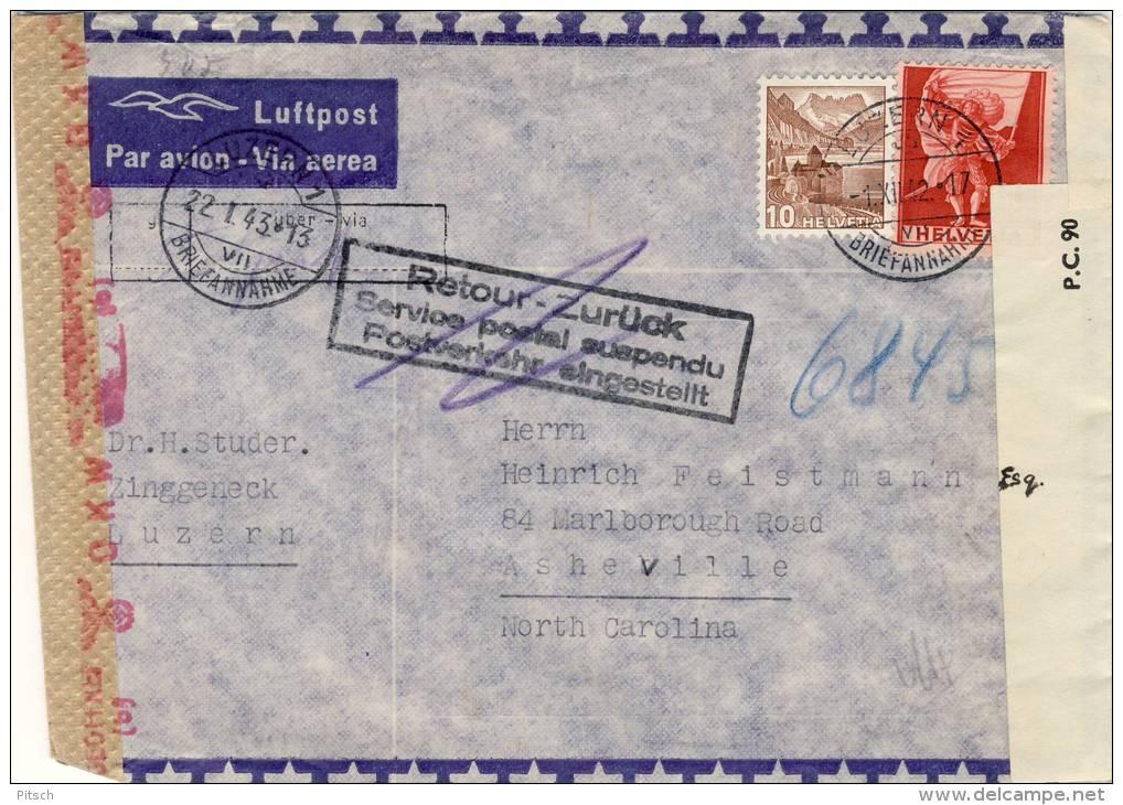 Schweiz - Flugpost Brief - Flugverkehr Eingestellt Nach USA - Doppelzensur - Schweiz