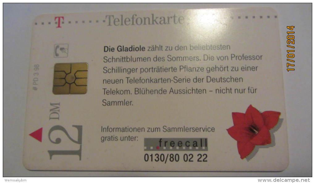 """Telefonkarte Der Deutschen Telekom """"Gladiole-blühende Aussicht"""" 12 DM, 3/98, Gezeichnet Von Professor Heinz Schillinger - Deutschland"""