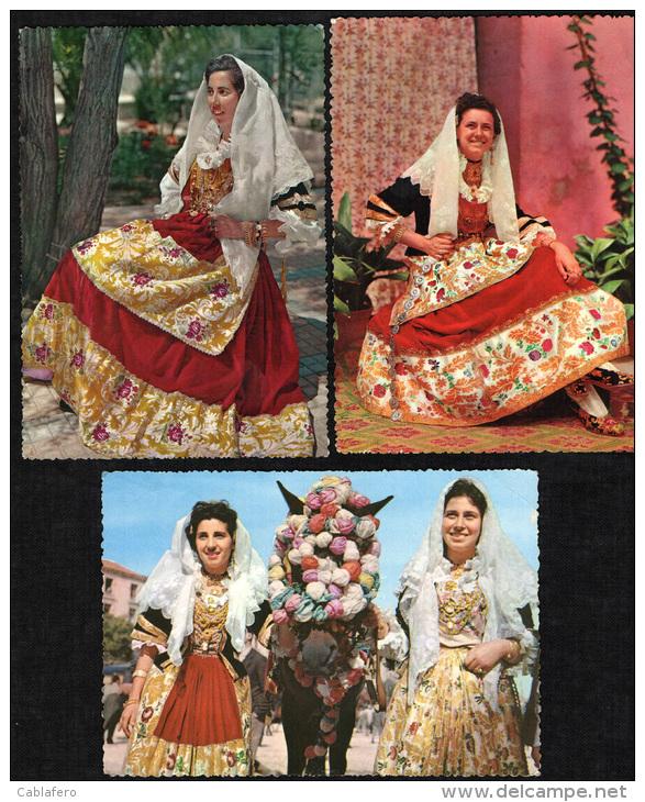 QUARTU SANT´ELENA - LOTTO 3 CARTOLINE COSTUMI TRADIZIONALI - (ANNO 1957) - Quartu Sant'Elena