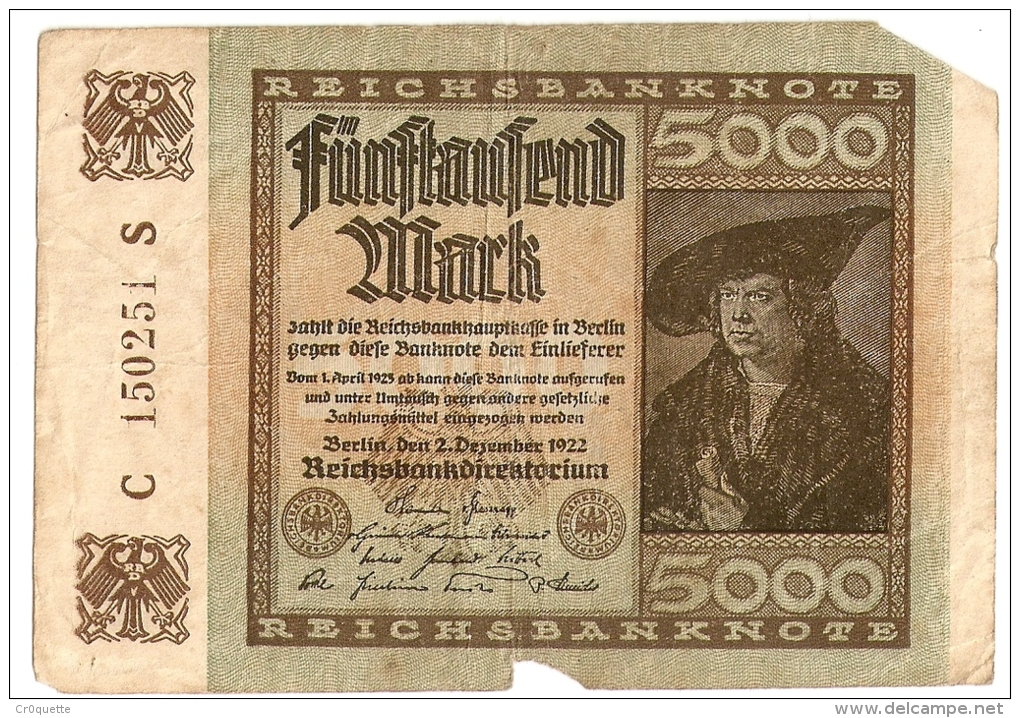 LOT DE 4 BILLETS MARK ALLEMANDS (100, 100,5000, 100000) - Collezioni