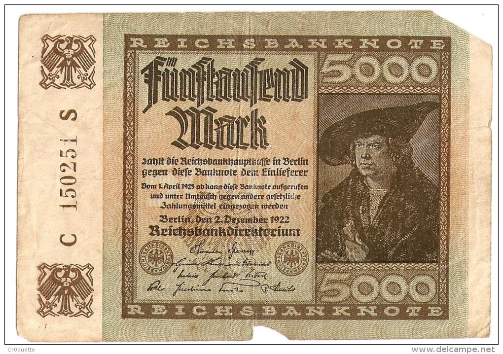 LOT DE 4 BILLETS MARK ALLEMANDS (100, 100,5000, 100000) - [ 2] 1871-1918 : Impero Tedesco