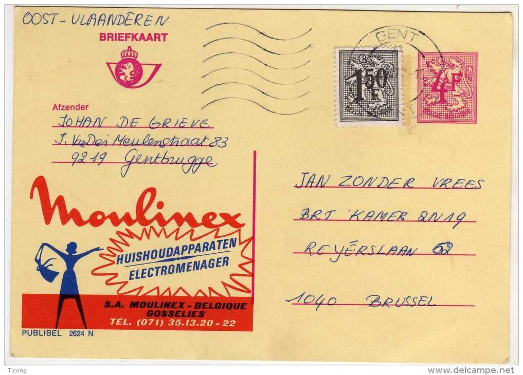 PUBLIBEL MOULINEX GOSSELIES - NUMERO 2624 N - GENT   ( AFFRANCHISSEMENT COMPLEMENTAIRE TYPE   LION ) - Stamped Stationery