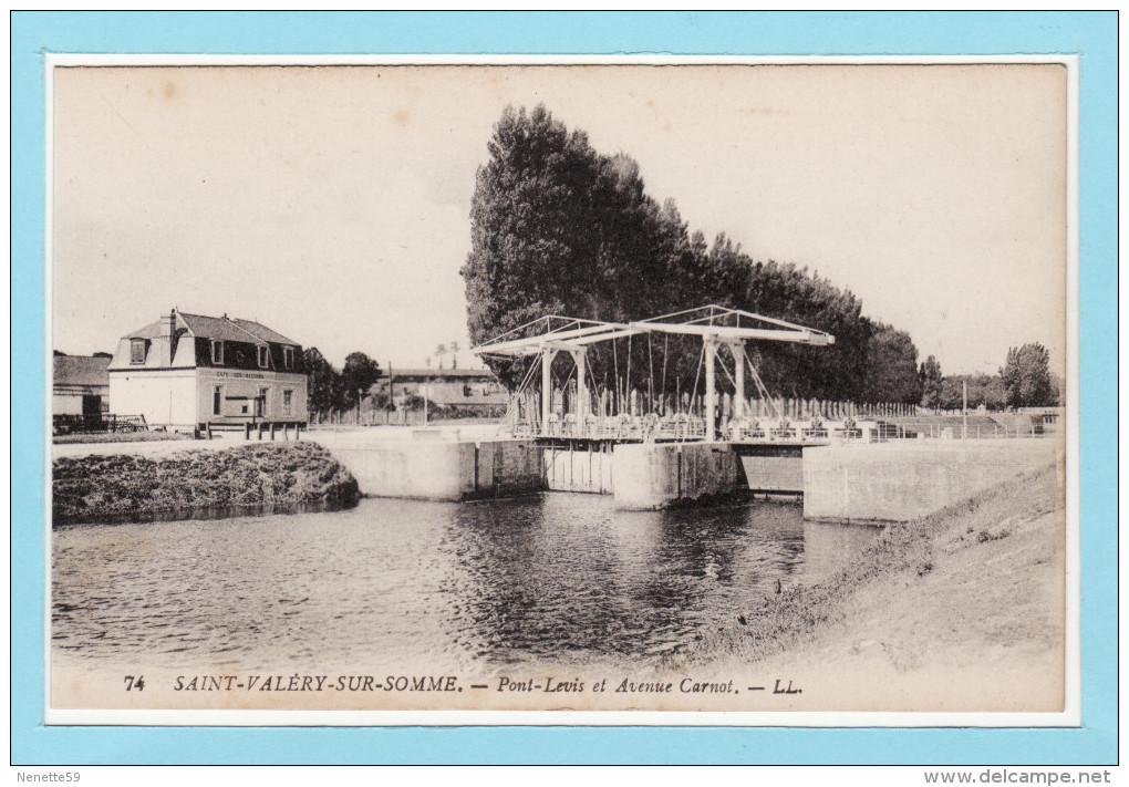 SAINT VALERY SUR SOMME - Pont Levis Et Avenue Carnot + Café Des Ecluses - Saint Valery Sur Somme