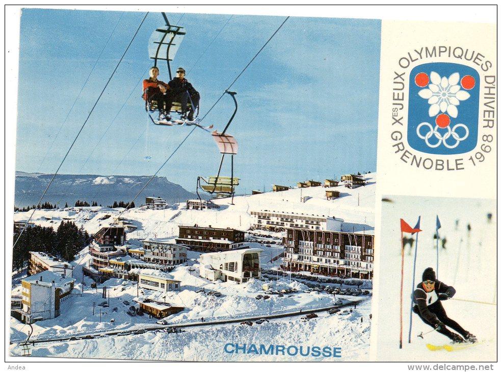 CPSM.  JEUX OLYMPIQUES GRENOBLE 1968..CHAMROUSSE.TELESIEGE DES GABOUREAUX...PRIX: 2,49 € - Sports D'hiver
