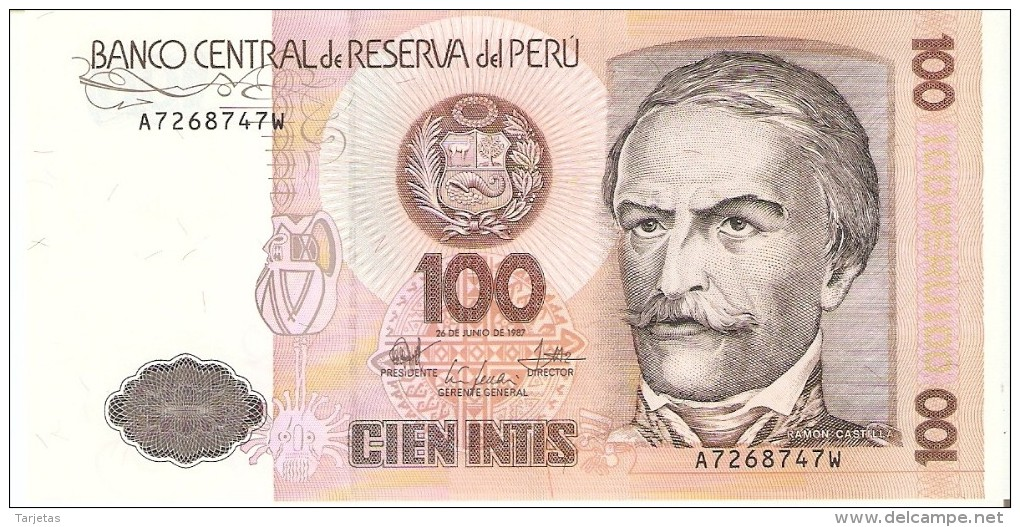 BILLETE DE PERU DE 100 INTIS DEL AÑO 1987 (BANKNOTE) SIN CIRCULAR-UNCIRCULATED - Perú