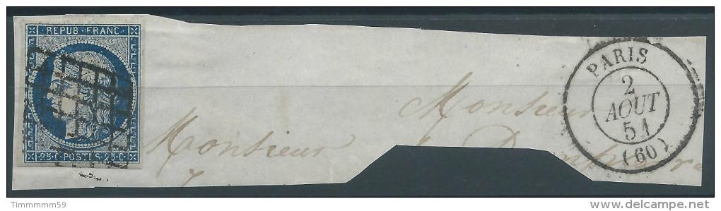 Lot N°24240    N°4a Bleu Foncé/fragment, Oblit  Grille Et Cachet à Date De PARIS 1302 Du  2 Aout 1851, Ind 14 - 1849-1850 Ceres