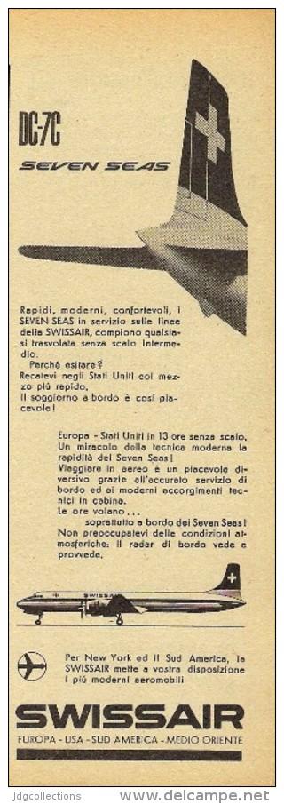 # SWISSAIR 1950s Italy Advert Publicitè Publicidad Reklame Airlines Airways Aviation Airplane - Publicités