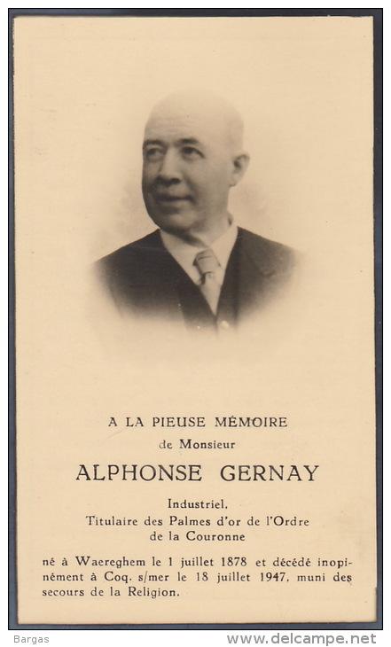Alphonse Gernay Industriel Medaille Palme De L´ordre De La Couronne Waereghem Coq Sur Mer - Obituary Notices