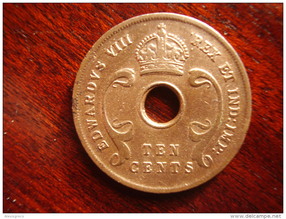 BRITISH EAST AFRICA USED TEN CENT COIN BRONZE Of 1936 (H) - EDWARD VIII. - British Colony