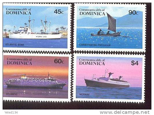 DOMINICA   842-8  MINT NEVER HINGED SET OF STAMPS  OF SHIPS  #  S - 152-1   ( - Barcos
