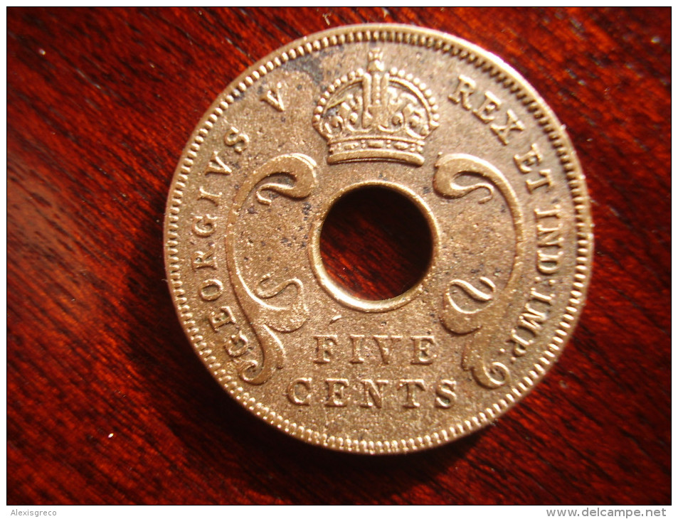 BRITISH EAST AFRICA USED FIVE CENT COIN BRONZE Of 1933 - GEORGE V. - British Colony