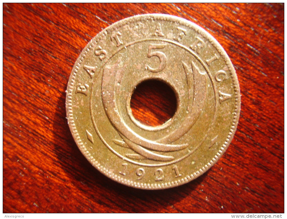 BRITISH EAST AFRICA USED FIVE CENT COIN BRONZE Of 1921 - GEORGE V. - British Colony