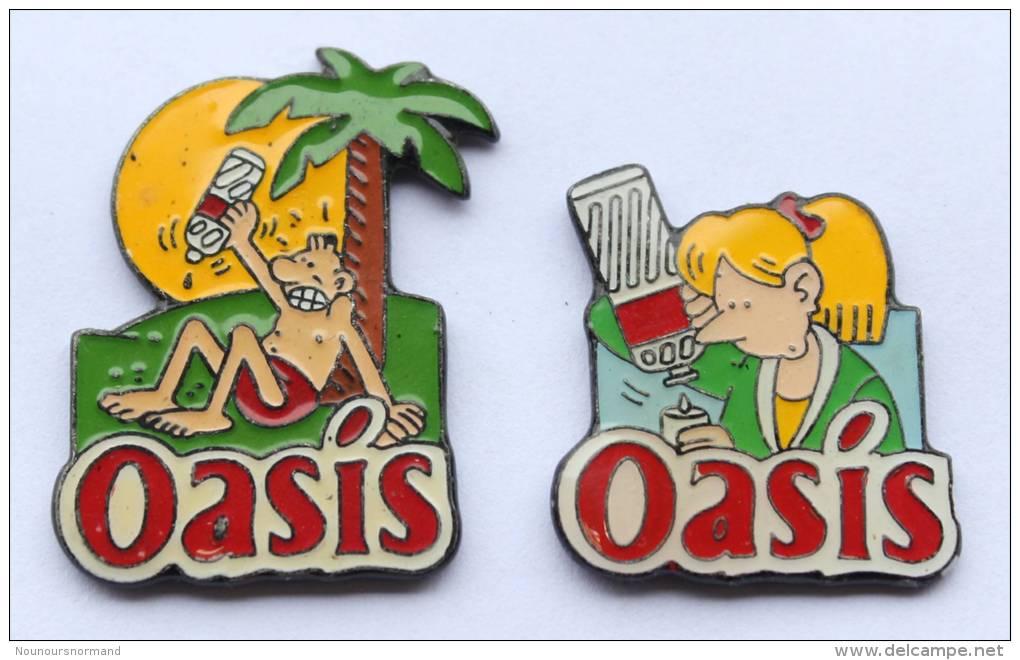 Lot De  2 Pin's OASIS -  Dessins De MARGERIN -  D91 - Badges