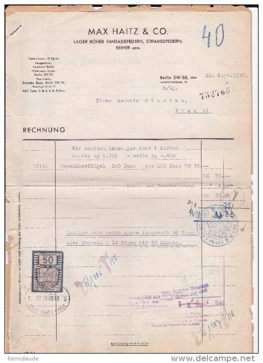 BOHEME ET MORAVIE - 1940 - FORMULAIRES Avec TIMBRE FISCAL + CACHET DE DOUANE (ZOLLAMT) - Bohême & Moravie