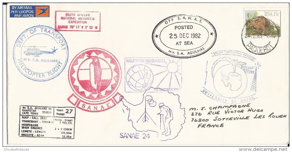 RSA - 1982 - POLAIRE - ENVELOPPE De L´EXPEDITION AFRIQUE Du SUD - VOL PAR HELICOPTERE - CACHETS De PAQUEBOTS - Voli Polari