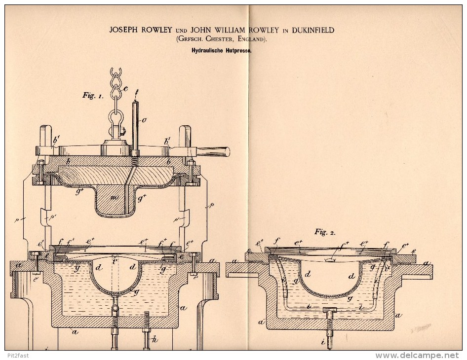 Original Patentschrift - J. Rowley In Dukinfield , Chester , 1895 , Hydraulic Press For Hats , Hat , Felt !!! - Tools