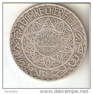 MONEDA DE PLATA DE MARRUECOS DE 20 FRANCS DEL AÑO 1352 (COIN) SILVER-ARGENT. - Marruecos