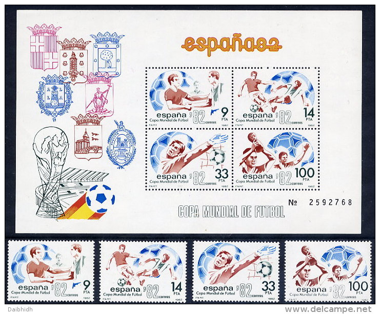 SPAIN 1982 Football World Cup Set Of 4 + Block  MNH / **. - 1931-Today: 2nd Rep - ... Juan Carlos I
