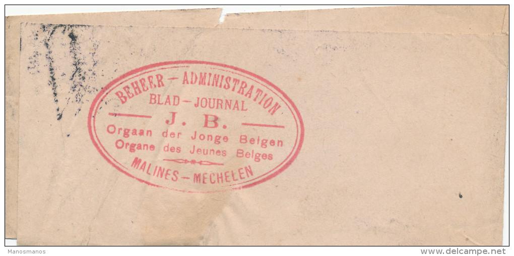 073/22 - Bande D' IMPRIME TP Lion Héraldique BRUXELLES 1933 - Cachet MECHELEN Blad J.B. Orgaan Der JJonge Belgen - 1922-1927 Houyoux