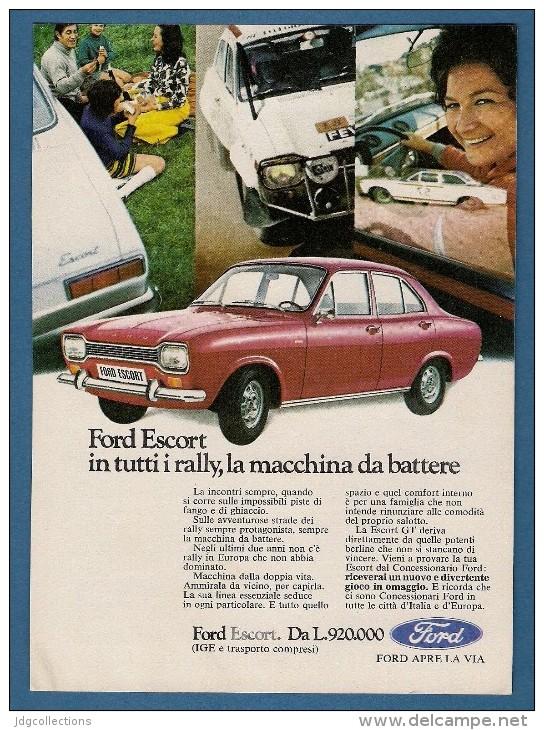 # FORD ESCORT Rally 1960s Car Italy Advert Pub Pubblicità Reklame Auto Voiture Coche Carro - Cars