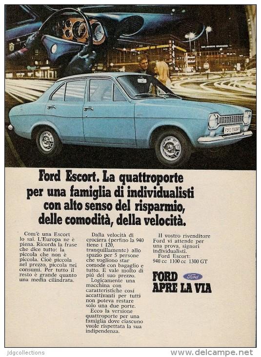 # FORD ESCORT 1960s Car Italy Advert Pub Pubblicità Reklame Auto Voiture Coche Carro - Cars
