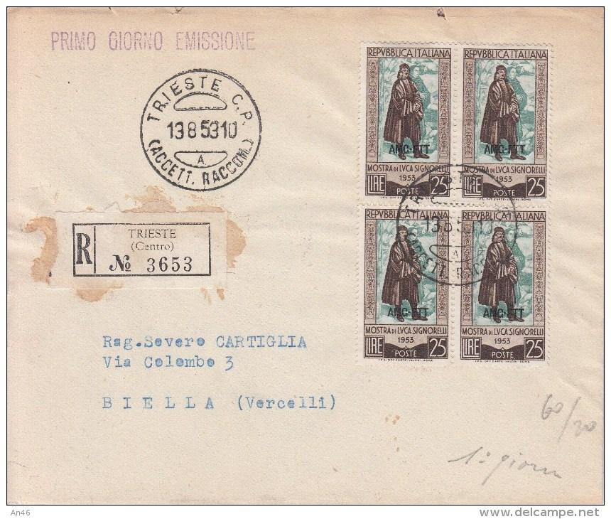 STORIA POSTALE F.D.C.Mostra Di L.Signorelli-Quartina AMG-FTT-su Busta Raccom.-TRIESTE 13-8-1953 Vedi Descrizione - Post