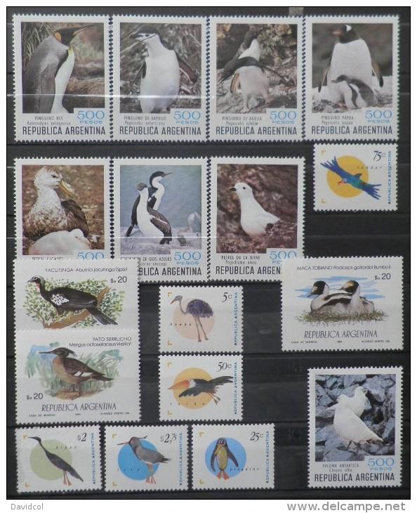 P071.-.ARGENTINA, 1980-1995.-.  BIRDS  /  AVES , NICE LOT MNH / MH.  CAT VAL: 33 € - Penguins