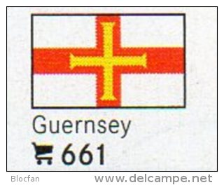 Set 6 Flaggen-Sticker Guernsey In Farbe 4€ Zur Kennzeichnung Von Alben+Sammlung Firma LINDNER #661 Flag Isle Of Britain - Matériel